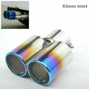 1PCS 63mm Inlet Car Exhaust Pipe Tip Muffler Stainless Dual Outlet Toasted Blue