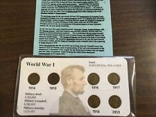 1914 - 1919 World War I Lincoln Cent Set; 6 Early WWI Era Coins on Card