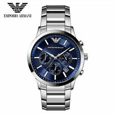 EMPORIO ARMANI MENS WATCH AR2448 CLASSIC BLUE DIAL  STEEL STRAP