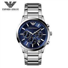 EMPORIO ARMANI MENS WATCH AR2448 CLASSIC BLUE DIAL  STEEL STRAP