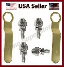4 Chrome Metal Bullet Anti-Theft License Plate Fasteners  Motorcycle Bolts Screw