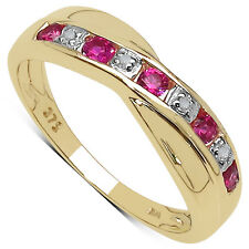 9CT GOLD 0.25ct GENUINE PINK TOPAZ & DIAMOND CHANNEL SET ETERNITY RING SIZE J-M