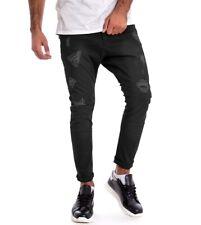 Pantalone Uomo Cotone Rotture Sfumato Nero Casual GIOSAL