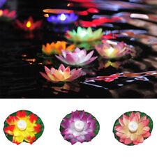 Solar Floating Lotus Light Pool Outdoor Garden Water Flower LED Lamp Lights