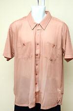 Haband Mens Casual Dress Shirts Size L Large Pink Peach Short Sleeve Dress Shirt