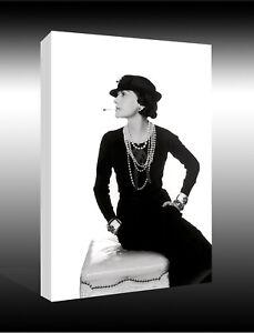 Art Deco Gabriel Chanel Icon Black and White CANVAS WALL ART PRINT PICTURE