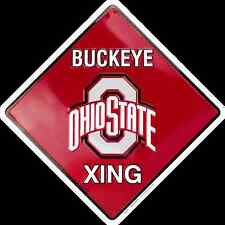 "OHIO STATE UNIVERSITY 12 X12"" EMBOSSED METAL BUCKEYE XING CROSSING SIGN BUCKEYES"