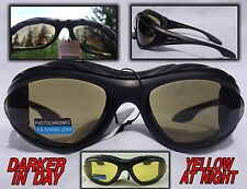 Transition Padded Riding Glasses Darker in Sun Yellow at Night  X540704