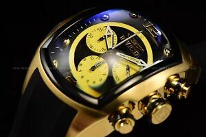 Rare Invicta Men 47mm Grand Lupah Swiss Chorno Gold Black Stainless Steel Watch