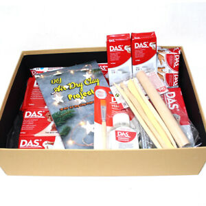 DAS MODEL CLAY GIFT SET WHITE/STONE/TERRACOTTA CLAY + VARNISH + BOOK + TOOLS