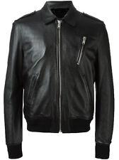 DE Herren Lederjacke Biker Men's Leather Jacket Coat Homme Veste En cuir R42a