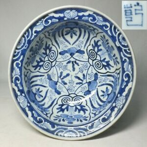 E0266: Japanese OLD IMARI blue-and-white porcelain bowl with very good painting