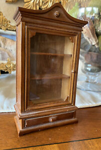 Miniature Wooden Display Curio Cabinet Doll House Furniture 1:12 Scale VINTAGE