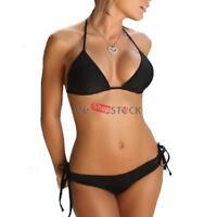 Maillot de bain femme 2 pièces NOIR avec lacet bikini été taille reglable S/M
