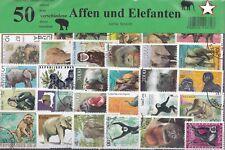 50 Briefmarken Säugetiere,Affen,Elefanten,Gorilla,Schimpansen,Orang-Utan,Elefant