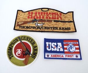 Vintage Embroidered Patches Thompson Center Arms Hawken USA America First NOS