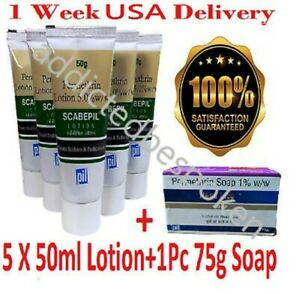 PMT Permethrin Lotion For Scabies Pubic Lice 5 X 50ml With 1pc Soap 75g FS