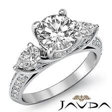 Round Diamond Classic 3 Stone Engagement Ring Gia F Si1 14k White Gold 2.71ct