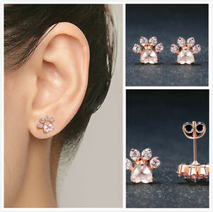 Paw Aquamarine Stud Hoop Rose Gold Plated Earrings Jewelry Gift for Her Fashion