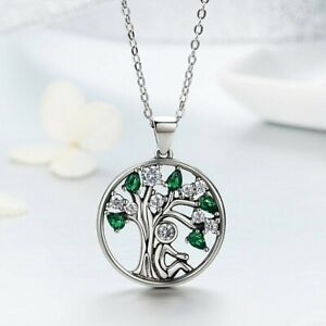 Tree of Life Silver Necklace Cubic Zirconia Stones