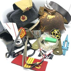 Set of Vintage Military Soviet 15 Items USSR Ushanka Hat Retro Pilotka Cap Shell