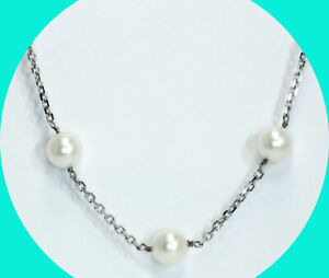 Pearl chain choker necklace 14K WG 7 MM faceted cable by the inch 16.5""