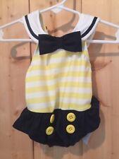 Gymboree Sailor Nautical Navy Yellow Swim Suit 3-6 SPF Bow Buttons Stripes Twins