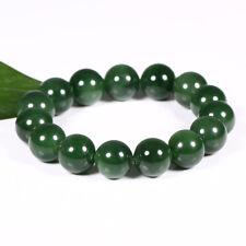 14mm High Quality Natural Green Nephrite Beads Men Bracelet Pounamu Bangle Jade