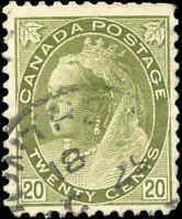 Used Canada 1900 20c F+ Scott #84 Queen Victoria Numeral Issue Stamp