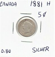 Canada 5 Cent Silver Coin 1881 H  Queen Victoria As Pictured