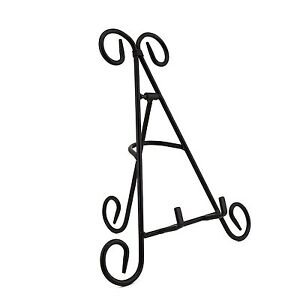 """9"""" Tall Black Iron Display Stand Tower Holds Pictures, Plates, Art & Cook Books"""
