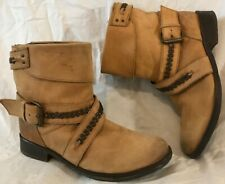 French Connection Light Brown Ankle Leather Lovely Boots Size 39 (875Q)