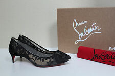New sz 4 / 34 Christian Louboutin Saramor Black Lace Tulle Pointed Toe Pump Shoe