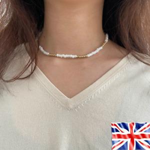 White Gold Beaded String Necklace Bohemian Choker Women Men Jewelry UK