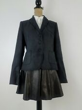 New Club Monaco Women Gillian Blazer Size 12 Charcoal Gray Pinstripe Wool Career