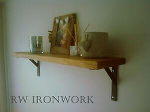Rustic Shelf with Wrought Iron Brackets