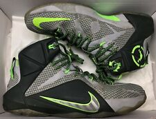 Nike Lebron XII 12 Dunk Force Grey Green Black 684593-001 Sz 10