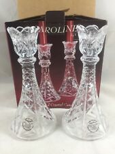 """*NEW* Caroline by IMPERIAL CRYSTAL - Clear 24% Crystal Candleholder Pair - 8"""""""