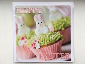 *SALE* Handmade Hoppy Easter Card Bunny Rabbit Cupcake Cake