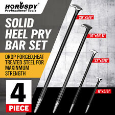 4Pc Heavy Duty Solid Steel Pry Bar Set Rolled Heel Prying Pinch Lever Bars  New