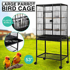 """Large Bird 53"""" Parrot Cage Iron Pet Supplies Finch Conures House w/Stand Wheel"""