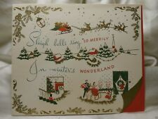 Holiday Seasonal Card Christmas Greeting Sleigh Bells Wonderland Vintage