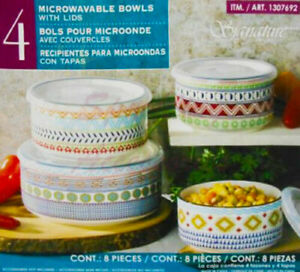 NEW Signature Housewares Set 4 Storage Serving Bowls Stoneware Housewarming Gift