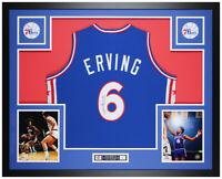 Julius Erving Autographed and Framed Blue 76ers Jersey Auto JSA COA