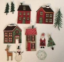 Little Christmas Village - Iron On Fabric Appliques, Houses, trees, etc