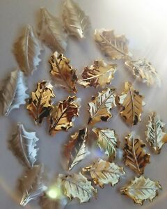 CraftbuddyUS 30pcs Pearl Leaf with Gold Painted Edge, Flatback Trim