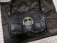 $348 Coach Soho H0817-F11842 Hobo Buckle Flap Shoulder Hand Bag Black Leather EC