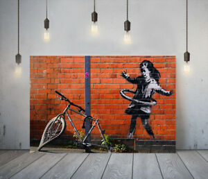 BANKSY HULA BICYCLE GIRL-FRAMED CANVAS GRAFFITI WALL ART PICTURE PAPER PRINT-