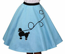"Light Blue FELT Poodle Skirt _ Girl Size SMALL (Ages 4-6) _ Waist 17""- 21"""