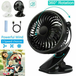 Mini 3 Speeds USB Rechargeable Cooling Fan Clip On Desk Baby Stroller Portable
